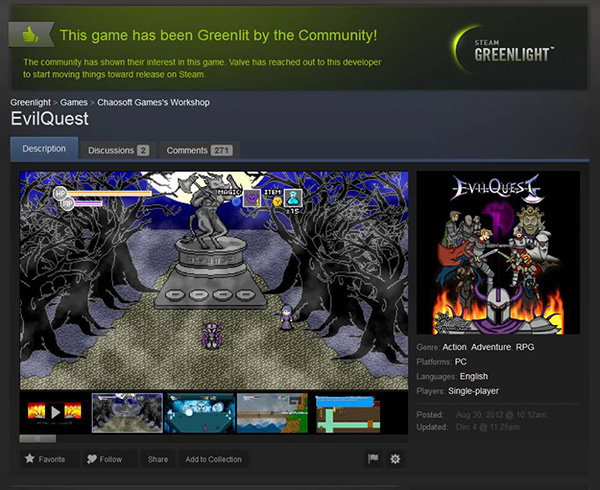 EvilQuest approved for Steam release